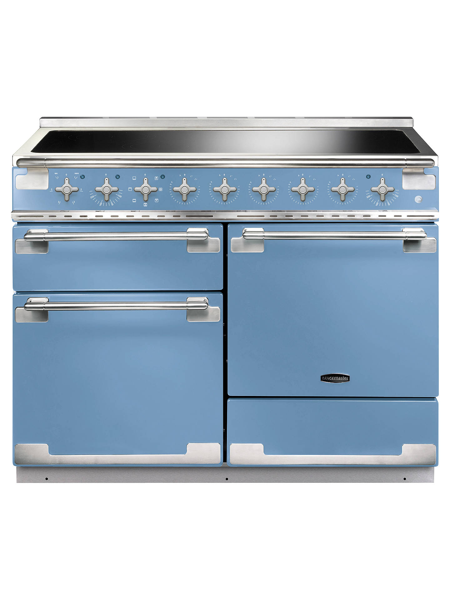 BuyRangemaster Elise 110 Induction Hob Range Cooker, China Blue/Brushed Chrome Trim Online at johnlewis.com