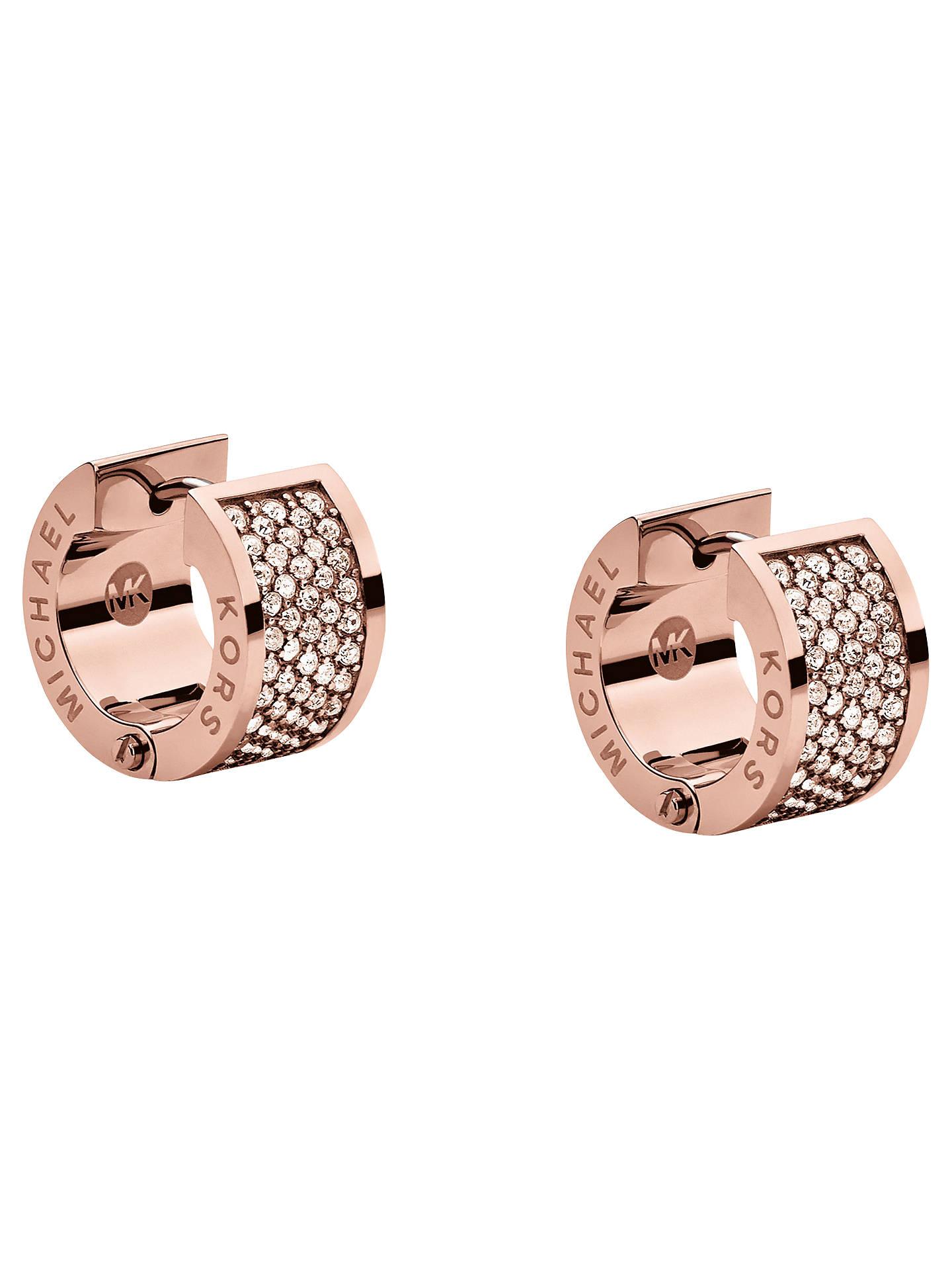 b3c2cb3591fa64 Buy Michael Kors Huggie Pave Crystal Wide Hoop Earrings, Rose Gold Online  at johnlewis.