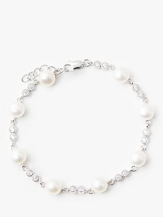 Lido Pearls Circle Cubic Zirconia and Pearl Bracelet, White