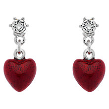 Buy Cachet Rhodium Plated Swarovski Crystal Enamel Heart Drop Earrings, Silver Online at johnlewis.com