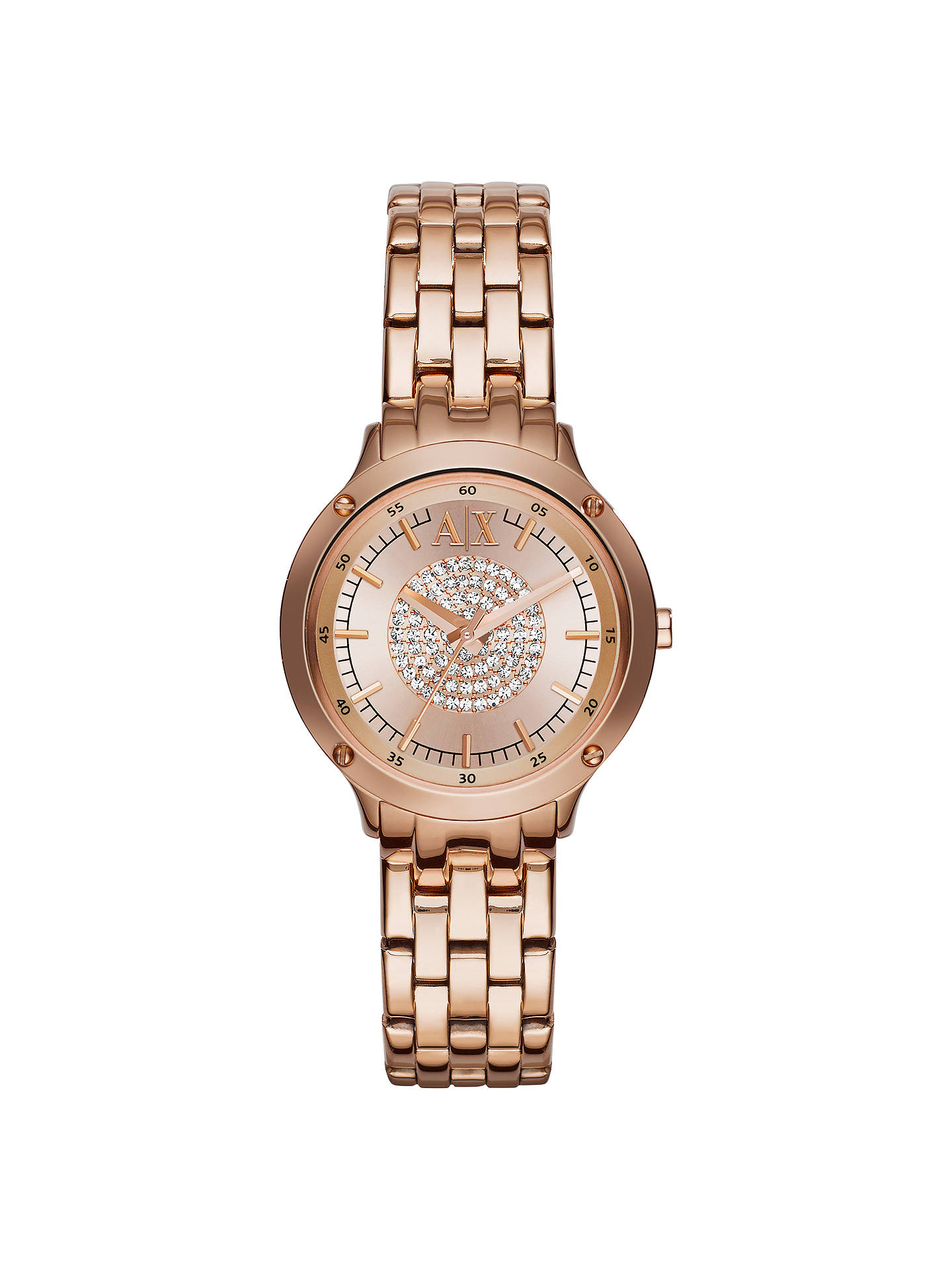 Buy Armani Exchange AX5416 Women's Capistrano Stainless Steel Bracelet Strap Watch, Rose Gold Online at johnlewis.com