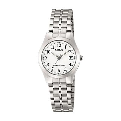Lorus RH767AX9 Women's Date Bracelet Strap Watch, Silver/White