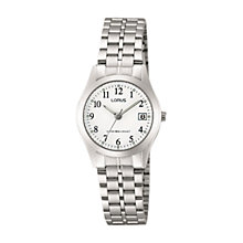 Buy Lorus RH767AX9 Women's Date Bracelet Strap Watch, Silver/White Online at johnlewis.com