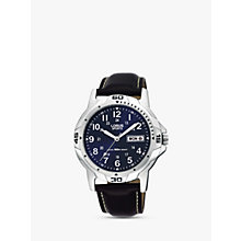 Buy Lorus RXN51BX9 Men's Sports Day Date Leather Strap Watch, Black/Navy Online at johnlewis.com