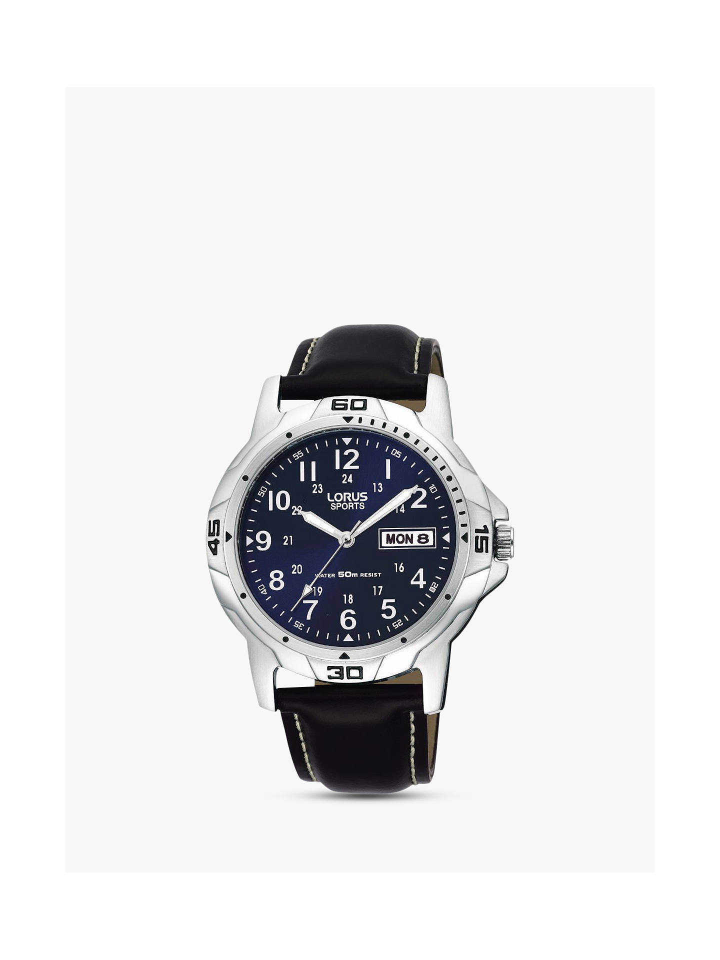 BuyLorus RXN51BX9 Men's Sports Day Date Leather Strap Watch, Black/Navy Online at johnlewis.com