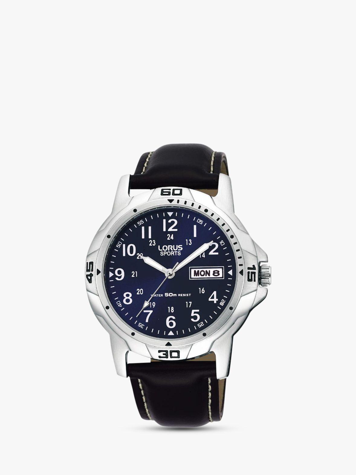 Lorus Lorus RXN51BX9 Men's Sports Day Date Leather Strap Watch, Black/Navy