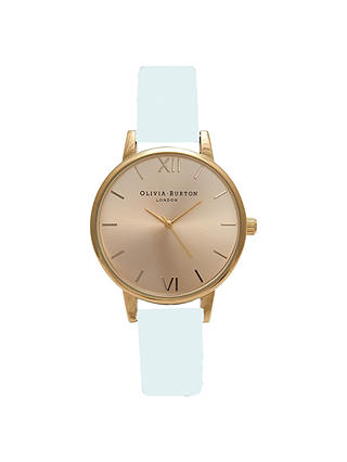 Buy Olivia Burton OB14MD32 Women's Midi Leather Strap Watch, Blue / Gold Online at johnlewis.com