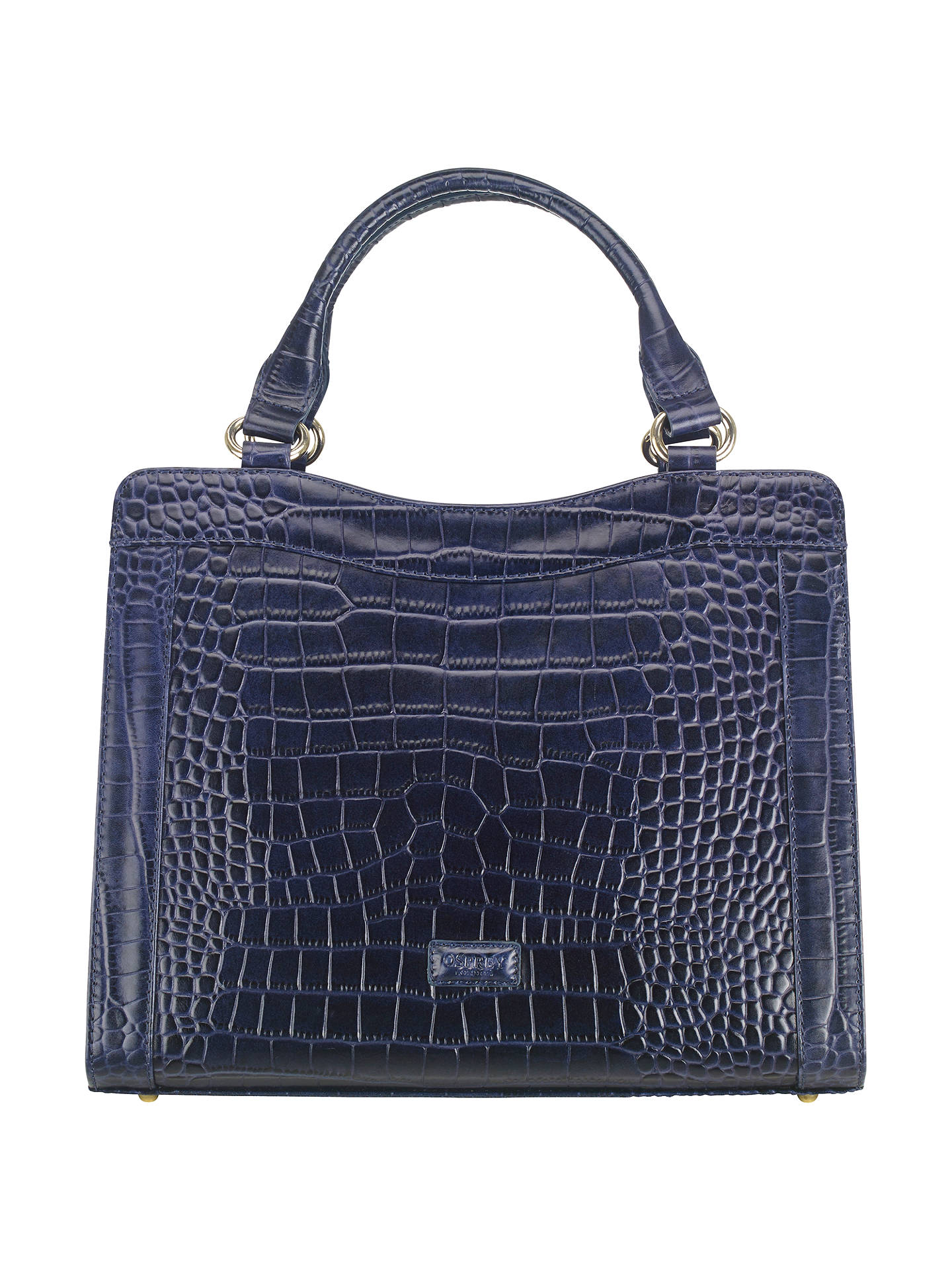 offer discounts newest comfortable feel OSPREY LONDON Marquess Leather Croc Shoulder Bag, Navy at ...