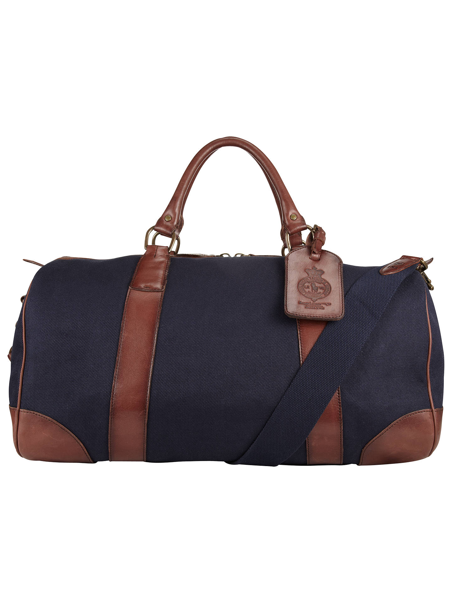 67aa0ec59b1 Buy Polo Ralph Lauren Canvas and Leather Gym Bag, Navy Online at  johnlewis.com ...