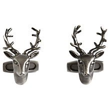 Buy Simon Carter Stag Head Cufflinks, Grey Online at johnlewis.com