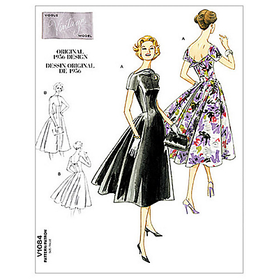 1950s Sewing Patterns- Dresses, Skirts, Tops, Pants Vogue Vintage Womens Dress Sewing Pattern 1084 £15.00 AT vintagedancer.com