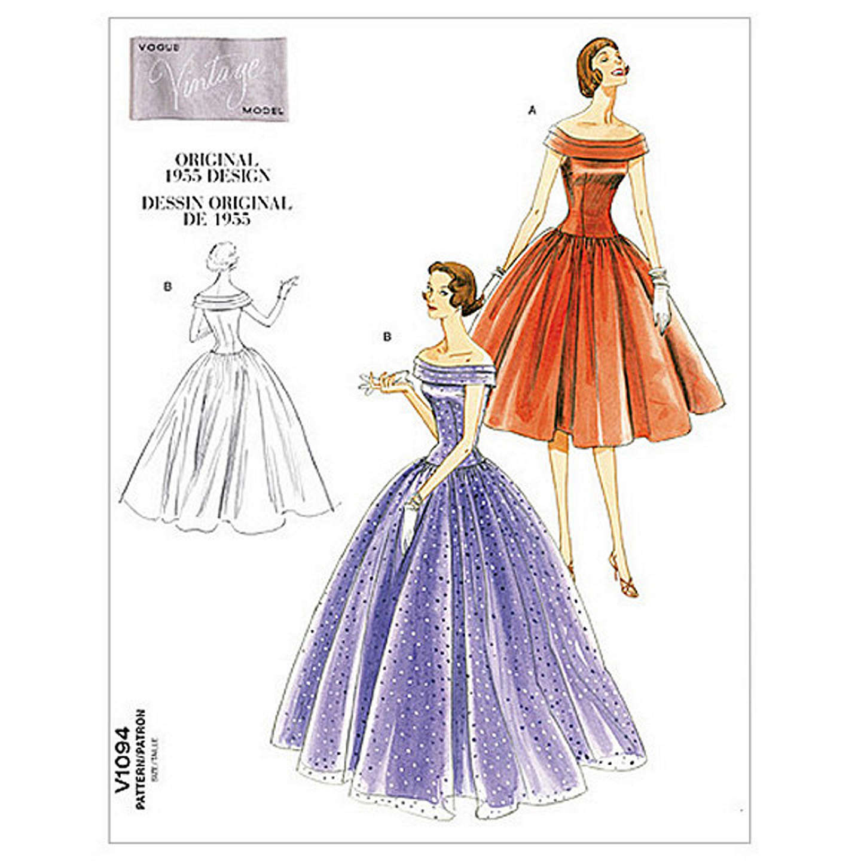 Vogue Vintage Evening Gown Sewing Pattern, 1094 at John Lewis