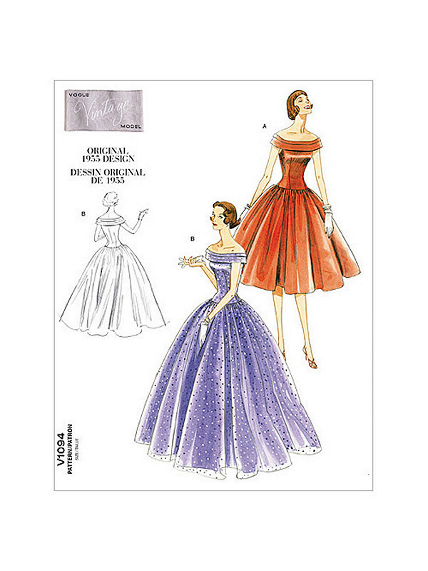 Vogue Vintage Evening Gown Sewing Pattern, 1094 at John Lewis & Partners