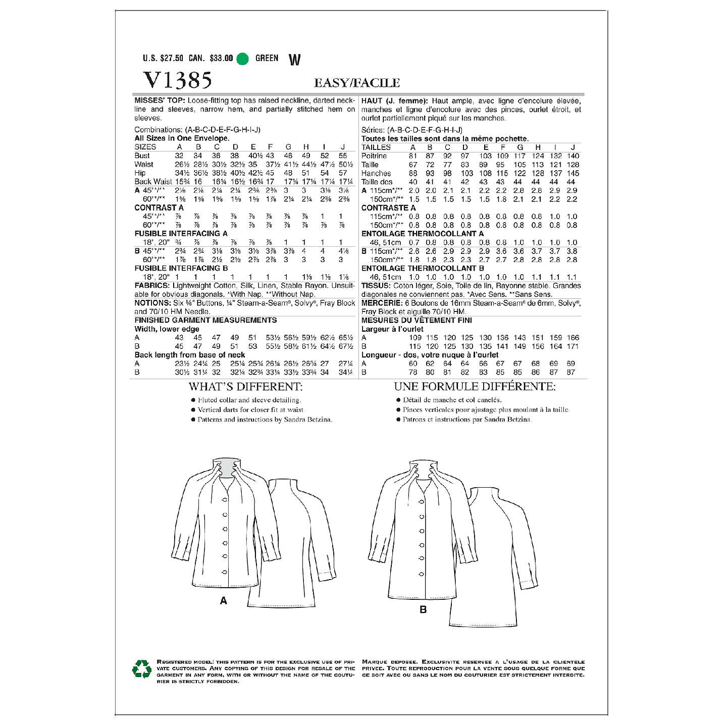 Vogue Today\'s Fit Women\'s Top/Vest Sewing Pattern, 1385 at John Lewis