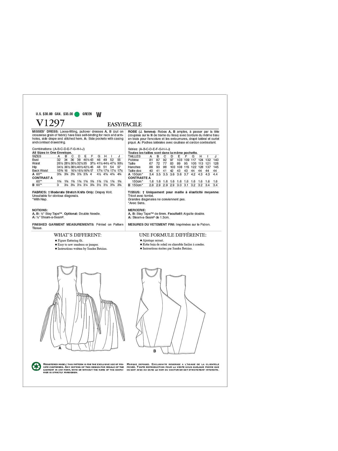 Vogue Sandra Betzina Women S Dress Sewing Pattern 1297
