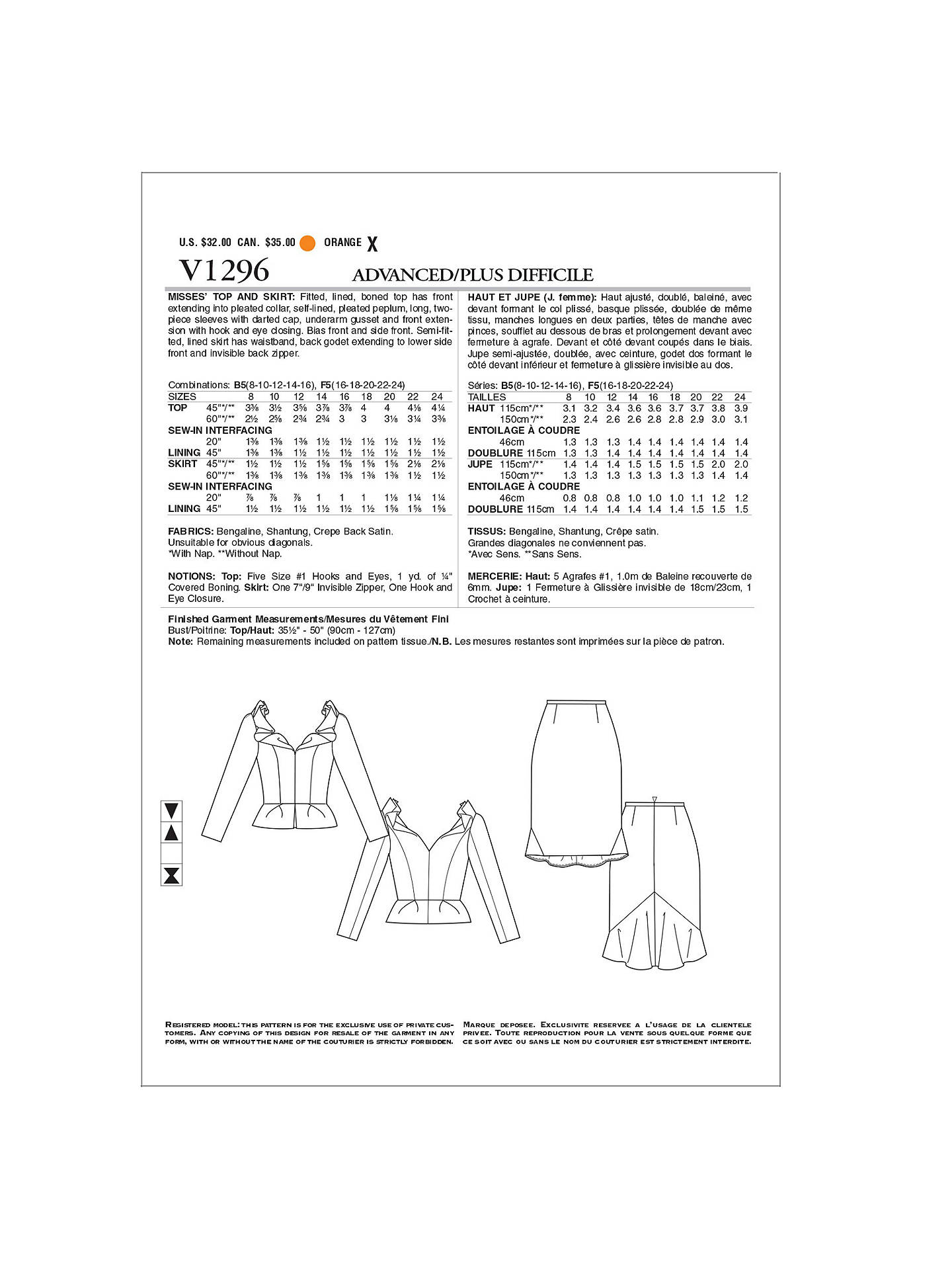 Vogue Lorcan Mullany Women\'s Top & Skirt Sewing Pattern, 1296 at ...