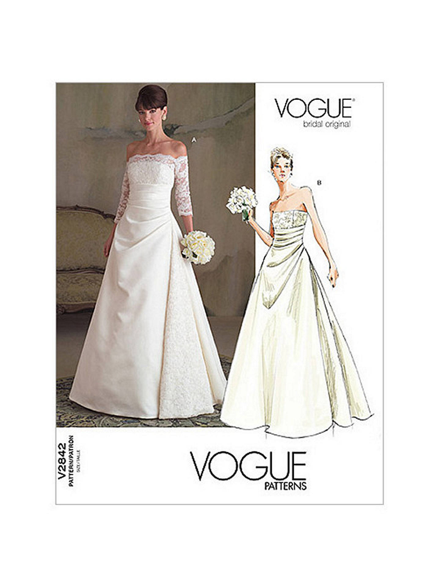 Vogue Women S Bridal Original Dress Sewing Pattern 2842a Online At Johnlewis