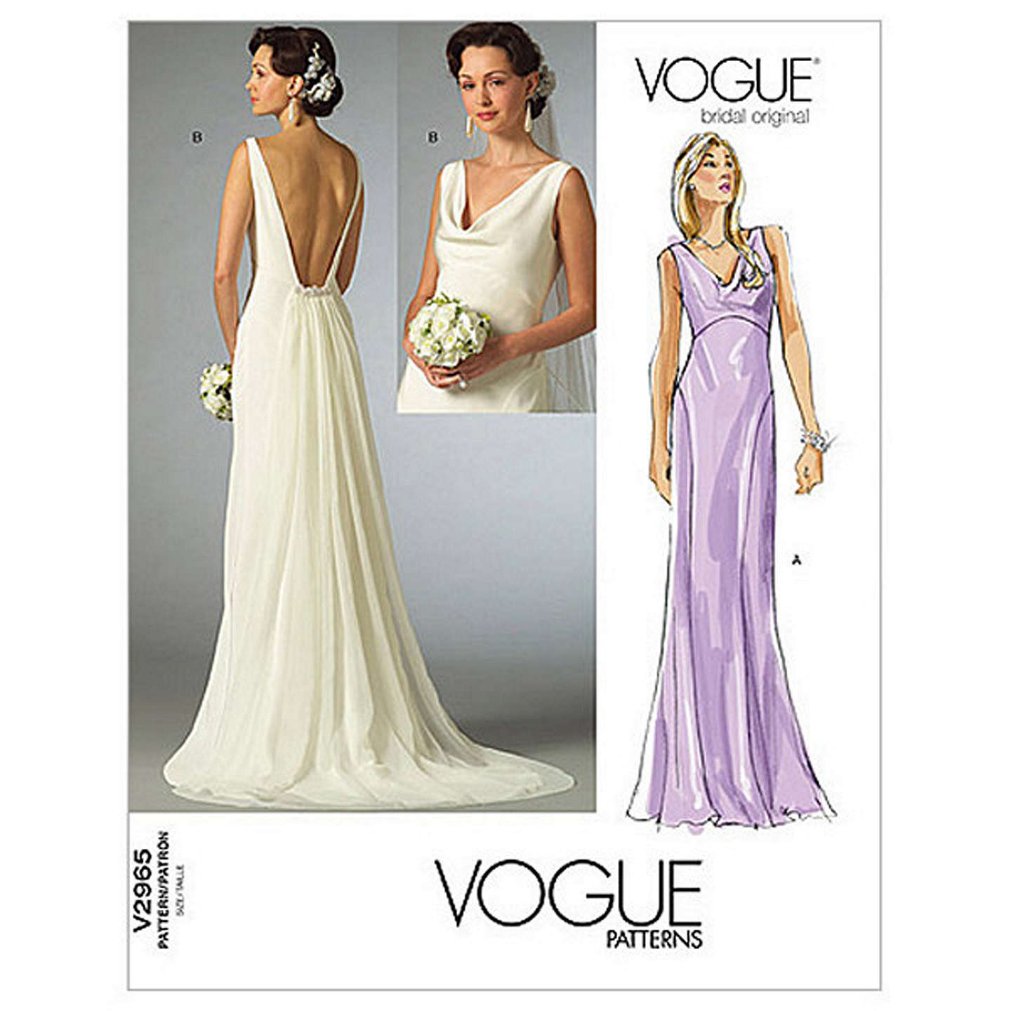 Sewing Patterns For Wedding Gowns: Vogue Women's Bridal Original Dresses Sewing Pattern, 2965