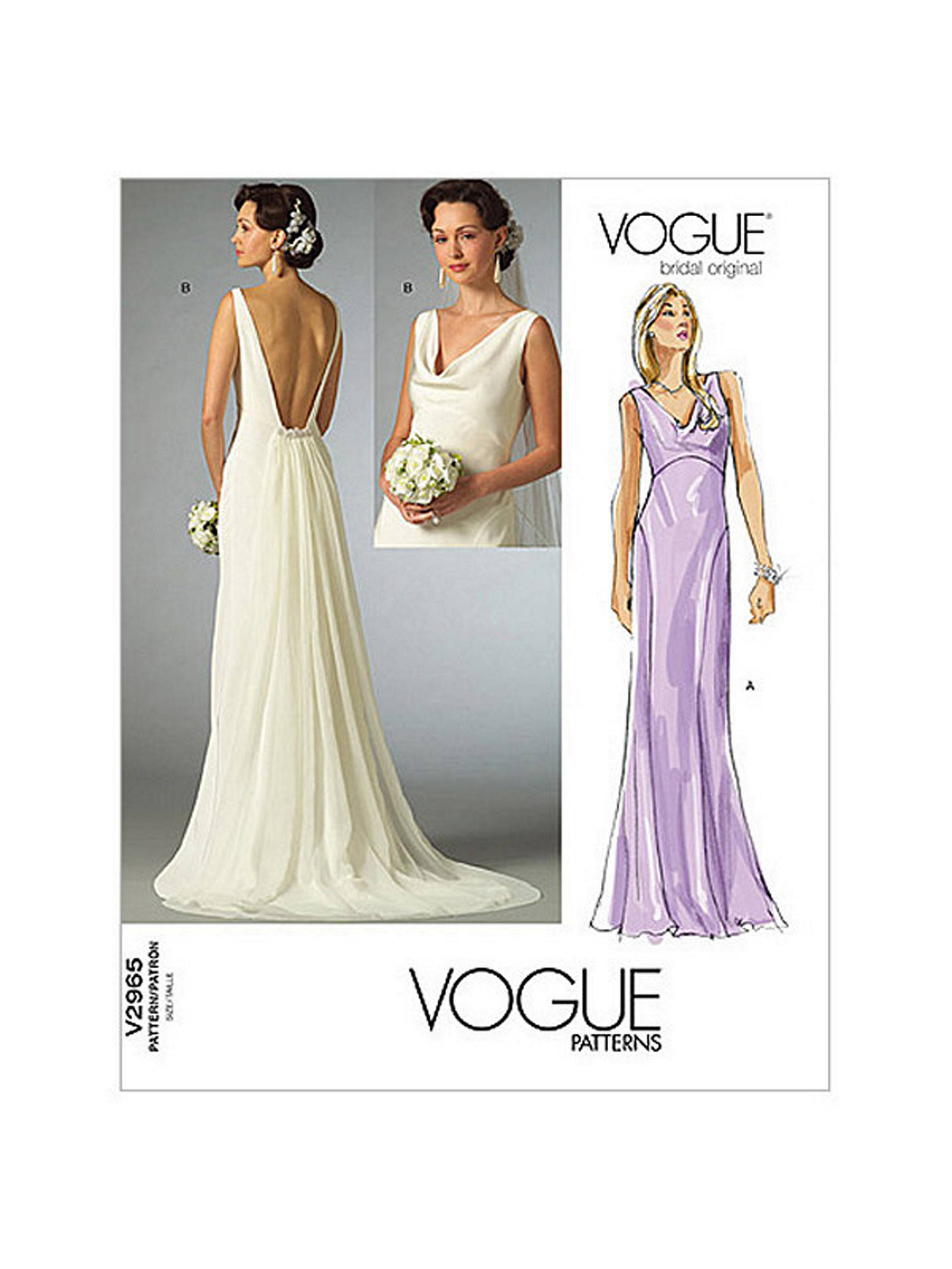 Vogue Women\'s Bridal Original Dresses Sewing Pattern, 2965 at John ...