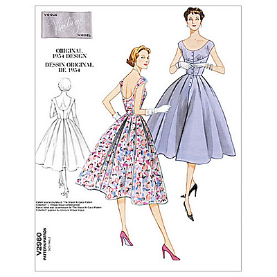 1950s Sewing Patterns- Dresses, Skirts, Tops, Pants Vogue Womens Vintage Model Dresses Sewing Pattern 2960 £15.00 AT vintagedancer.com