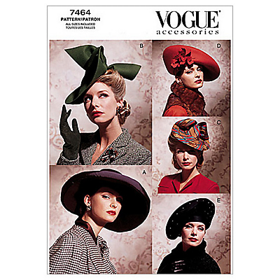 Retro Vintage Style Hats Vogue Womens Accessories Hats Sewing Pattern 7464 £8.25 AT vintagedancer.com