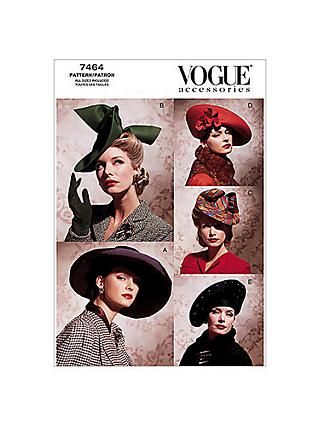 Vogue Women's Accessories Hats Sewing Pattern, 7464