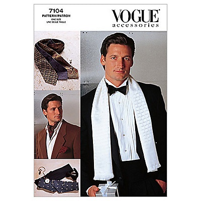 Vogue Mens Accessories Ties & Scarves Sewing Pattern 7104