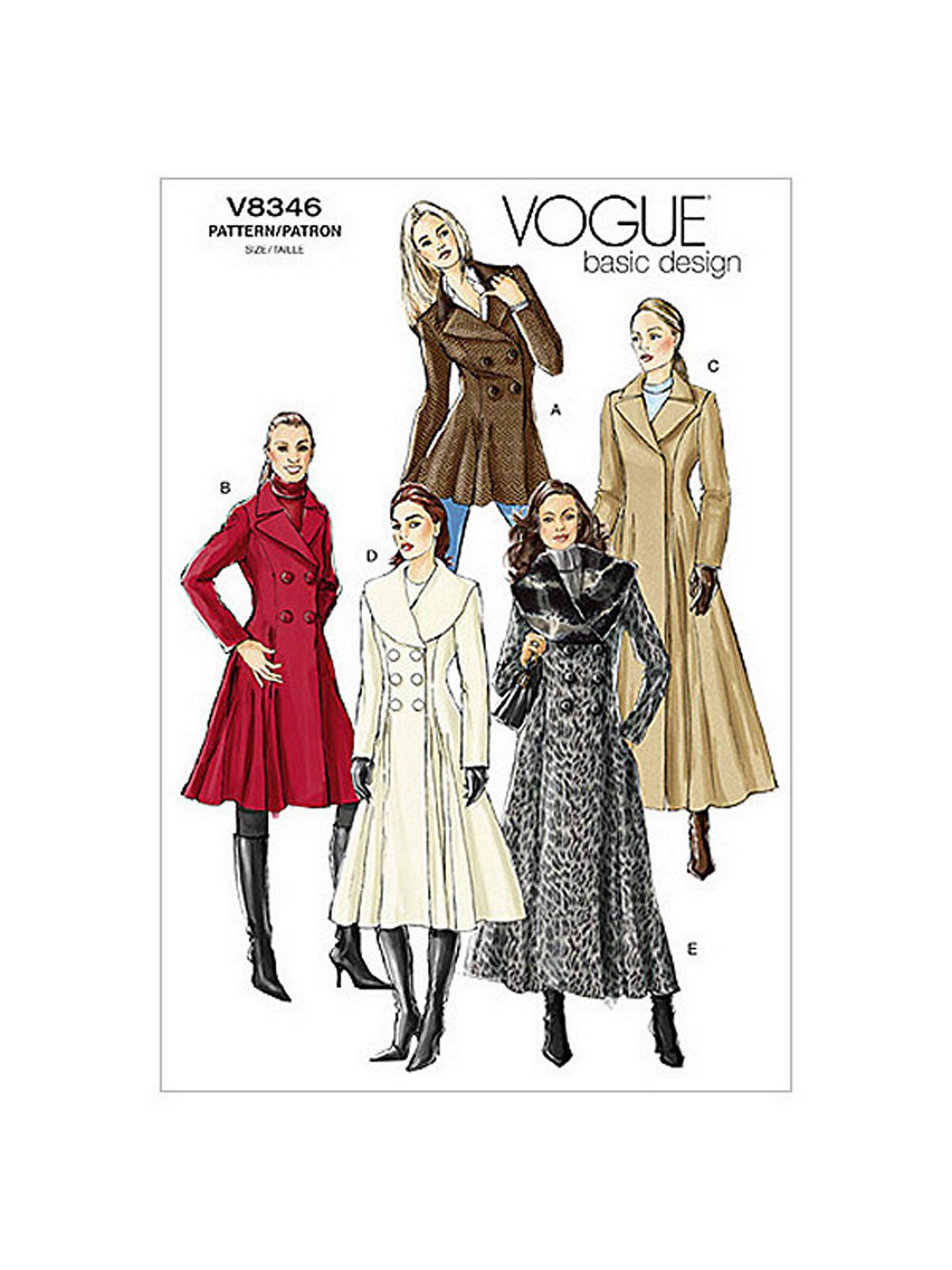 Vogue Women\'s Coats Sewing Pattern, 8346 at John Lewis & Partners