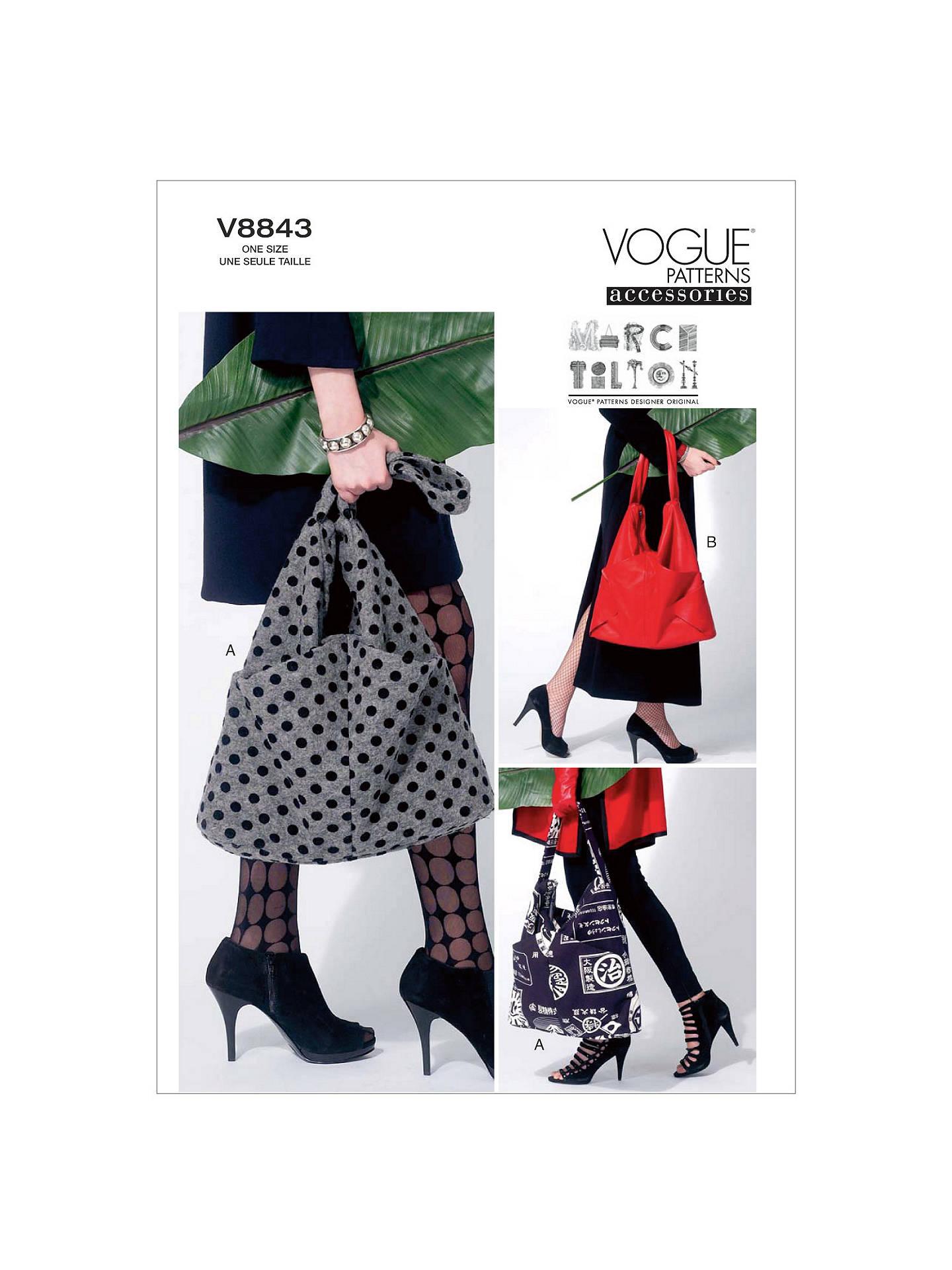 Vogue Marcy Tilton Women\'s Bag Sewing Pattern, 8843 at John Lewis ...