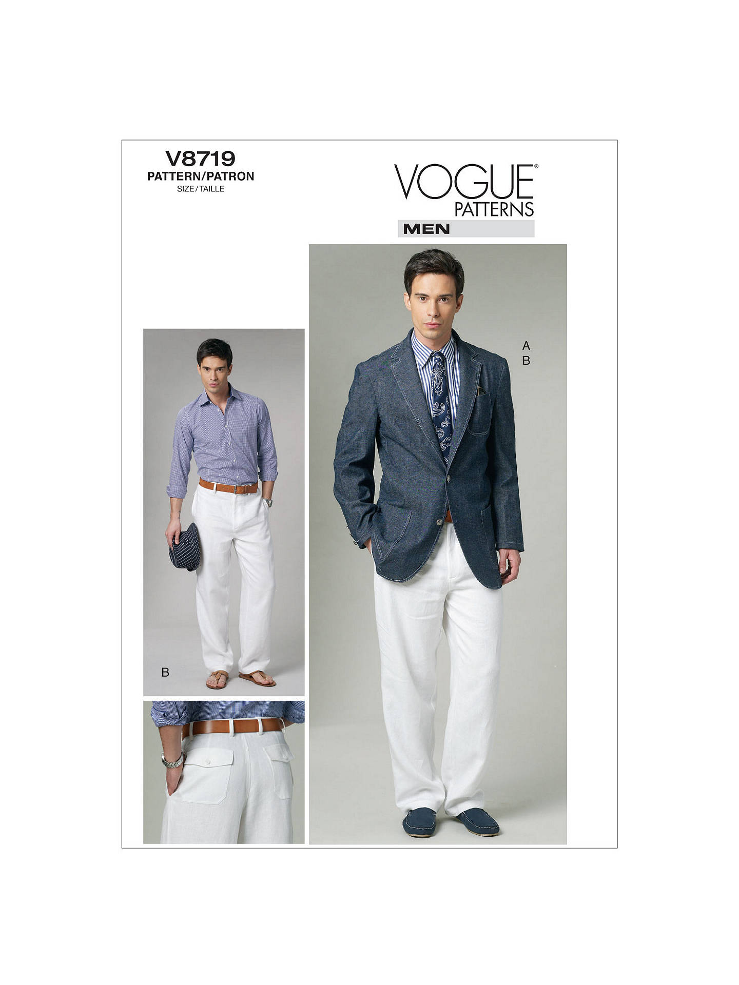 Vogue Men\'s Jacket and Trousers Sewing Pattern, 8719 at John Lewis ...