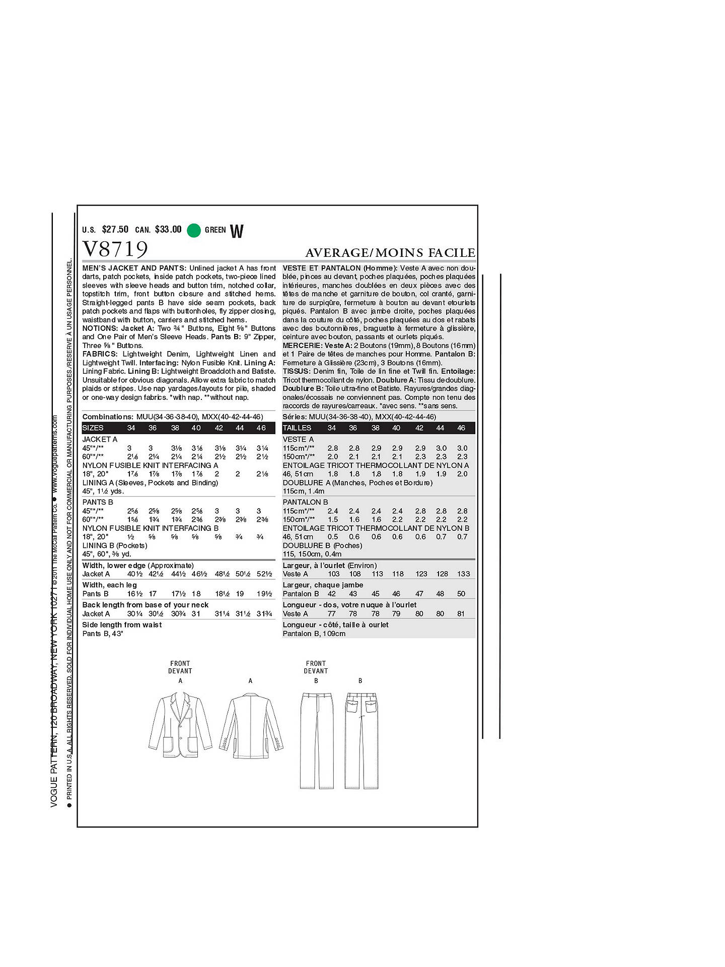 Vogue Mens Jacket And Trousers Sewing Pattern 8719 At John Lewis 97 Blazer Wiring Diagram Washer Buyvogue 8719mu Online