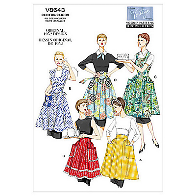 1950s House Dresses and Aprons History Vogue Vintage Womens Apron Sewing Pattern 8643 £13.00 AT vintagedancer.com