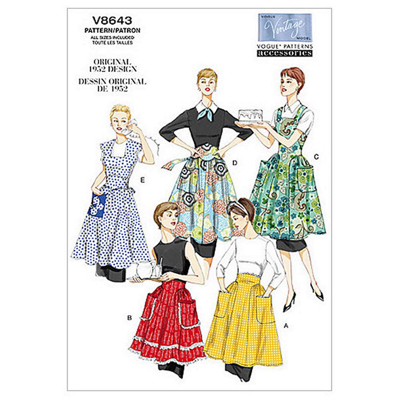 Vogue Vintage Women\'s Apron Sewing Pattern, 8643 at John Lewis