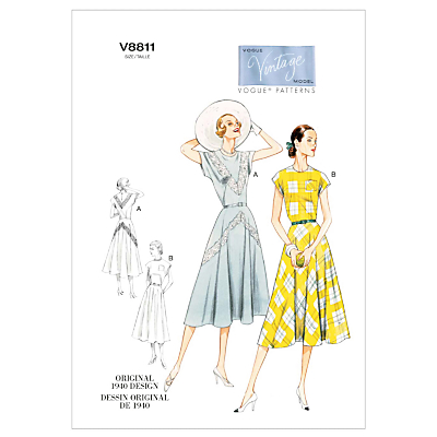 1950s Sewing Patterns- Dresses, Skirts, Tops, Pants Vogue Vintage Womens Dresses Sewing Pattern 8811 £15.00 AT vintagedancer.com