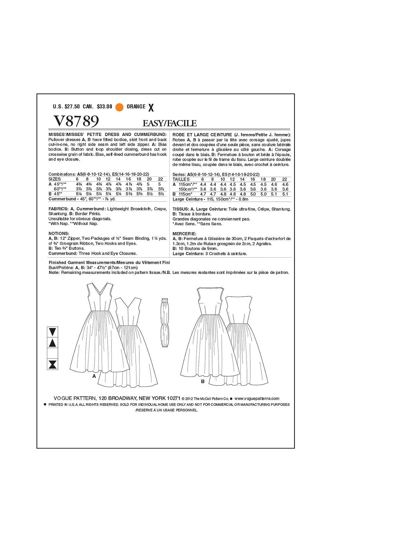 Vogue Vintage Women S Dresses Sewing Pattern 8789