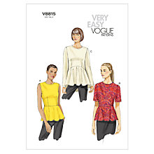 Buy Vogue Women's Top Sewing Pattern, 8815 Online at johnlewis.com