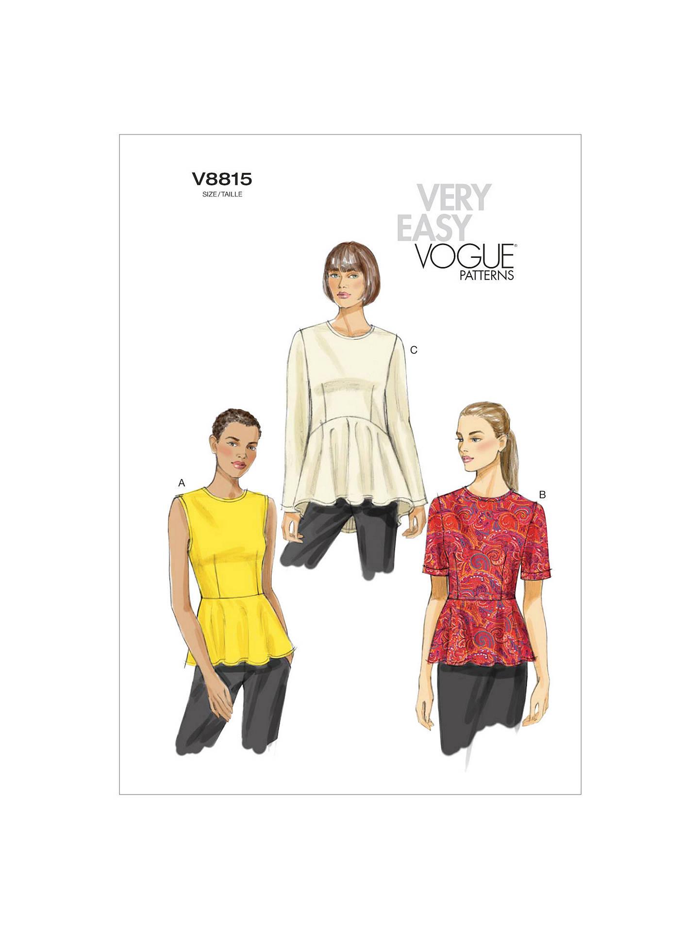 Vogue Women\'s Top Sewing Pattern, 8815 at John Lewis & Partners