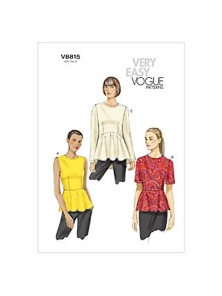 Vogue Women's Top Sewing Pattern, 8815