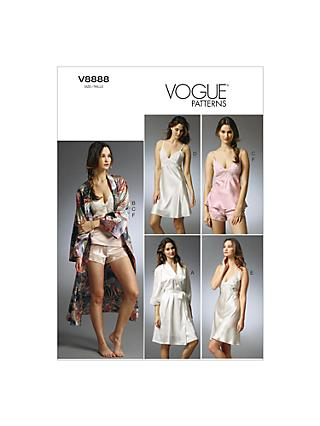 Vogue Women's Robe, Slip and Camisole Sewing Pattern, 8888