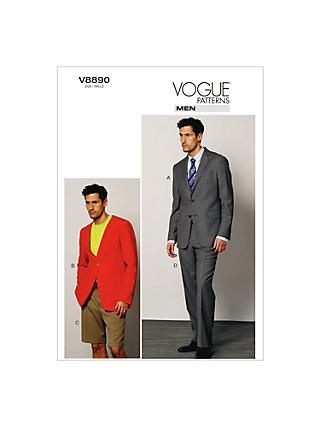 Vogue Men's Jacket, Shorts And Trousers Sewing Pattern, 8890