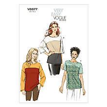 Buy Vogue Very Easy Women's Top Sewing Pattern, 8877 Online at johnlewis.com