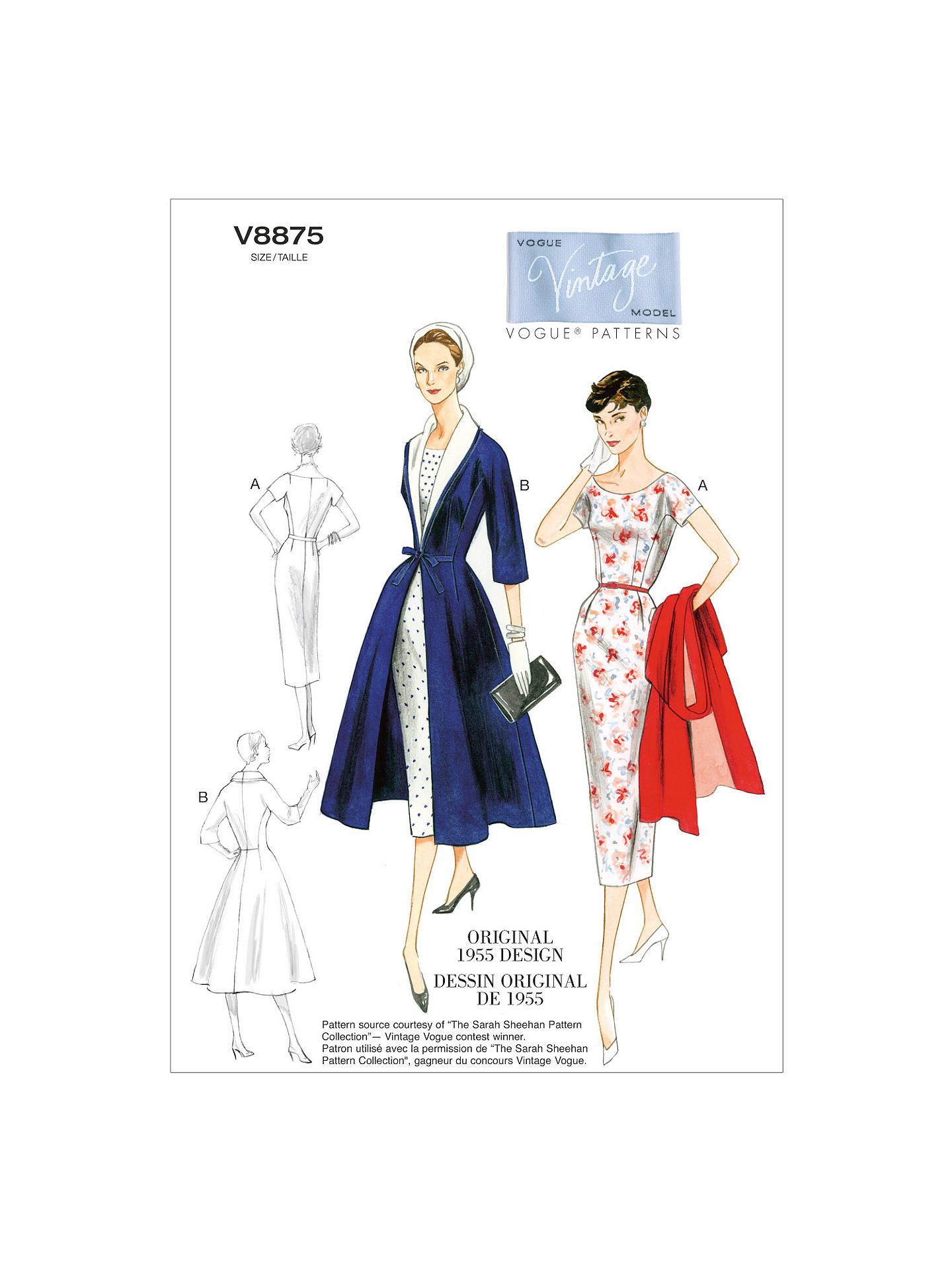 Vogue Vintage Women\'s Dress and Coat Sewing Pattern, 8875 at John ...
