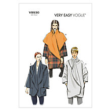 Buy Vogue Very Easy Women's Cocoon Coat Sewing Pattern, 8930 Online at johnlewis.com