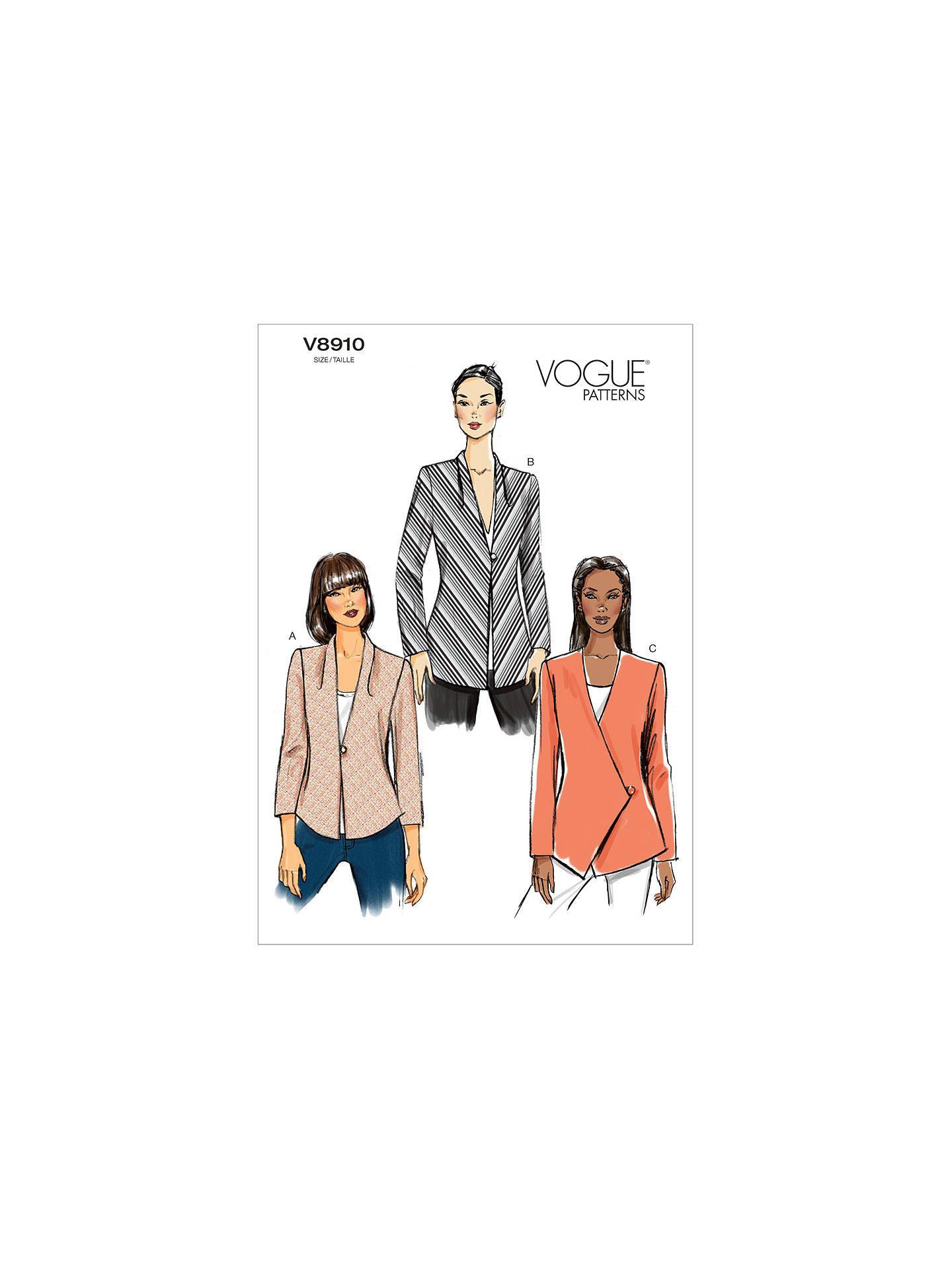 Vogue Women\'s Blazer Sewing Pattern, 8910 at John Lewis & Partners