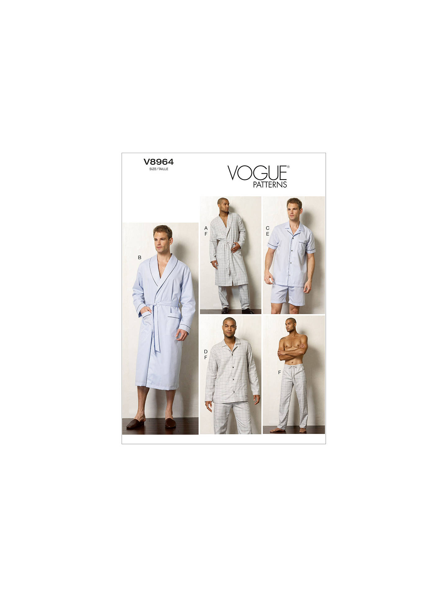 Vogue Mens Dressing Gown And Nightwear Sewing Pattern 8964 At John