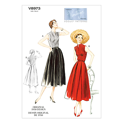 1950s Sewing Patterns- Dresses, Skirts, Tops, Pants Vogue Vintage Womens Dress Sewing Pattern 8973 £15.00 AT vintagedancer.com