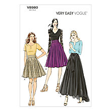 Buy Vogue Women's Skirts Sewing Pattern, 8980 Online at johnlewis.com