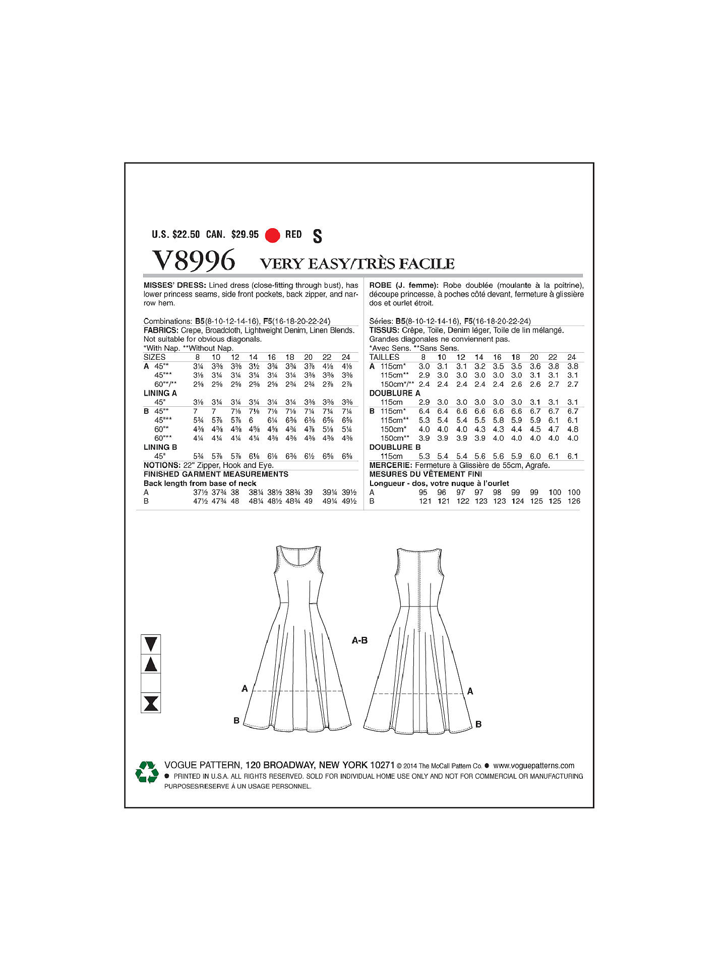 Vogue Women's Dresses Sewing Pattern, 8996