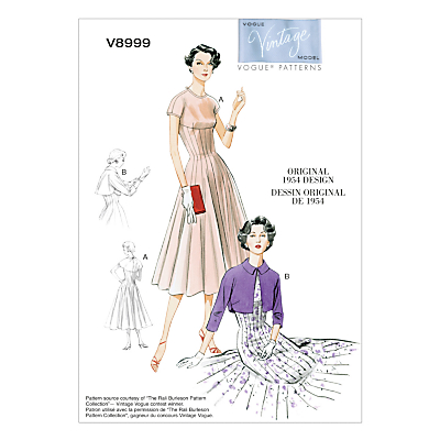 1950s Sewing Patterns- Dresses, Skirts, Tops, Pants Vogue Vintage Womens Dress Sewing Pattern 8999 £15.00 AT vintagedancer.com