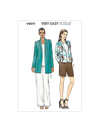 Vogue Women's Jacket, Shorts and Trousers Sewing Pattern, 9011